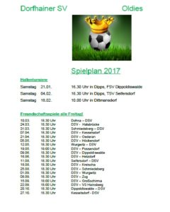 Dorfhainer SV Oldies Spielplan 2017